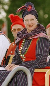 Her Majesty Queen   Margrethe II of Denmark wearing the Rømø costume