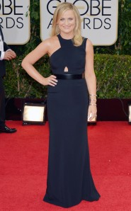 Amy Poehler in an edgy streak in a sleek key-hole cut-out Stella McCartney gown.