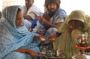 Mauritanian women making tea at a wedding