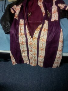 Tailored made african print dress with a brown jacket