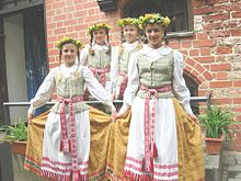Young girls wearing traditional dress