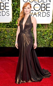 Golden score for such a day is what Jessica Chastain have attainned in this Atelier Versace
