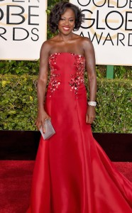 I present to you Annalise Keating(hmmm no I meant) Viola Davis' How to get away with Murder actress in a strapless gown with golden embellishment from Donna Karan Atelier