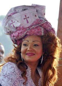 Our First Lady Mrs. Chantal Biya in wearing foulard