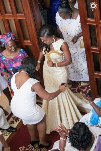 A Bride at her traditional wedding in a tailor made dress