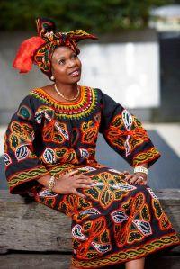 Doris Imalenowa in traditional African dress.