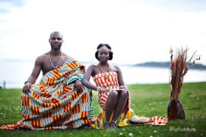 Bride and Groom at their Traditional wedding wearing the Kente