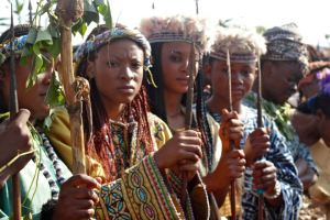 Young Bamoun women during Nguon festival