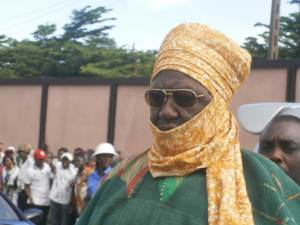 The Kingdom of Foumban HRH Ibrahim Dam Njoya in traditional wear for the every 2 year ceremony