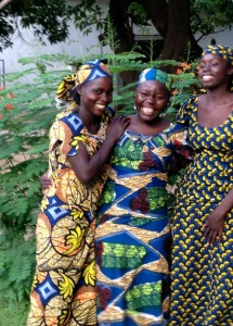 From the Northern Cameroon, colorful pagne worn by smiling women
